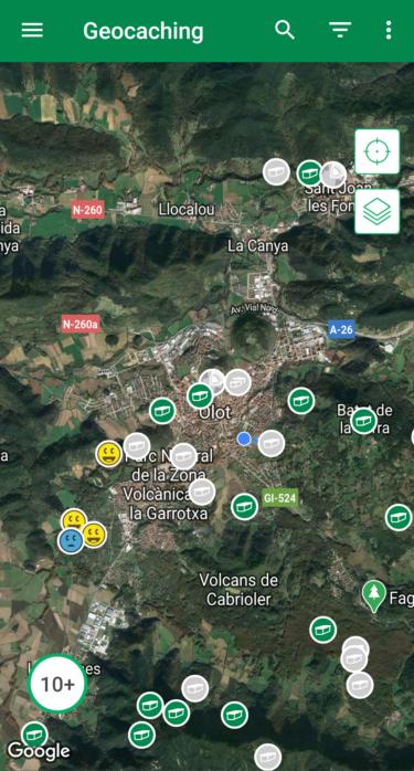 geocaching mapa olot
